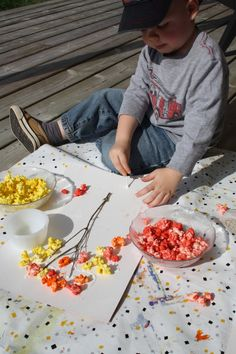 twigs + popcorn + glue + paint = popcorn trees.   I want to try this with Ty but I think he will eat all the popcorn.