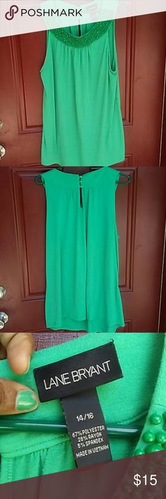 Green The Better!!! By Lane Bryant I have a Money Green short sleeve shirt...its a beautiful shirt i wore it one time and didnt  never wore it after that...so its pretty much brand New...its an 14/16 in size...u can were this with a cute skinny or boot cut jeans and a nice flat heel shoes...very cute top. Thanks for looking  #No Trades. # Yas i dont mind doing Bundles...if you are interested please use the Bundle button. #Yas you can make an offer on this shirt but please be considerate that…