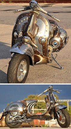 Never thought of think a Vespa was tough. Steampunk Vespa Piaggio Scooter designed and modded by Pulsar Projects. Piaggio Scooter, Scooters Vespa, Motos Vespa, Vespa Lambretta, Motor Scooters, Style Steampunk, Steampunk Design, Steampunk Fashion, Steampunk Images