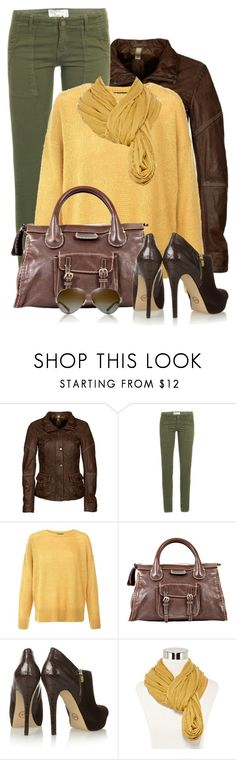 """Brown, Mustard & Green"" by daiscat ❤ liked on Polyvore featuring Milestone, Current/Elliott, Chloé, MICHAEL Michael Kors, Olsenboye, Tory Burch, women's clothing, women, female and woman"