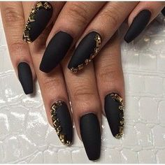 Black Matte Nails With Gold Gems Top Nail Art Designs Nail Art Media