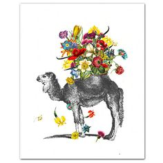 The Happy Camel...    This is a limited edition print of my original mixed media artwork  Print measures 8 x 10, including white border for framing.