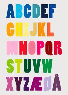 Alfabet 3 Dansk alfabet Alphabet Coloring Pages, Alphabet Art, Cool Fonts, Ms Gs, Kids Decor, Rainbow Colors, Diy For Kids, Language, Typography