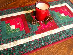 Chritmas Log Cabin Quilted Table Runner/ Christmas Fabric of green, red and white/Handmade Quilt by RubysQuiltShop on Etsy