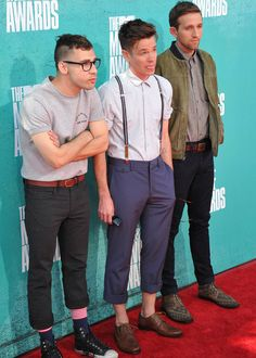 Jack Antonoff, Nate Ruess and Andrew Dost of Fun. on the carpet before they opened 2012 MTV Movie Awards!