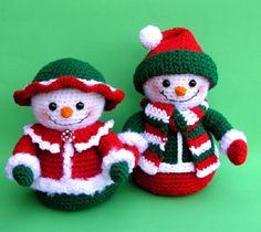 31 Creative Ideas for Christmas knitting crochet Crochet Snowman, Crochet Amigurumi, Crochet Ornaments, Amigurumi Patterns, Crochet Crafts, Crochet Dolls, Crochet Projects, Crochet Christmas Decorations, Christmas Crochet Patterns
