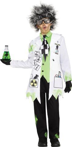 BOYS MAD SCIENTIST FANCY DRESS TUNIC GLOVES  EINSTEIN DOCTOR HALLOWEEN PROFESSOR