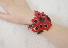 Hand Crocheted Red Poppies