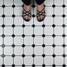 Shop for SomerTile Victorian Octagon White with Black Dot Porcelain Mosaic Floor Tile sqft. Get free delivery at Overstock - Your Online Home Improvement Shop! Get in rewards with Club O! Black Accents, Black Dots, Mosaic Tiles, Wall Tiles, Black Interior Doors, Build A Closet, Retro, Tile Floor, Porcelain