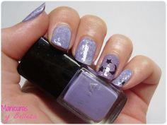 Moon and stars nails in violet and white / Manicura lunas y estrellas con Saran Wrap en blanco y violeta