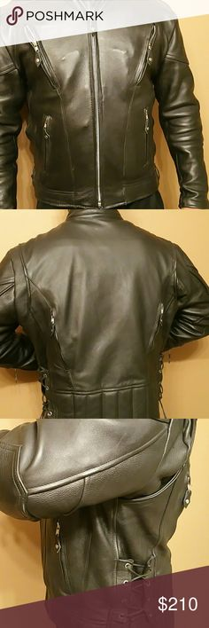 Motercycle jacket size 46 Pocono Mountain leather biker's jacket, black with liner. For scale and fit pics  Im 5,11 198lbs, 36 waist. Pocono Mountain Jackets & Coats Performance Jackets