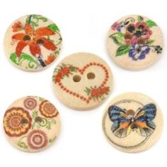 Pack of 25 Mixed Multicolour Flower Print Patterns, 2 Holes Round Wooden Buttons, for Sewing, Scrapbooking, Embelishments, Crafts, Jewellery making, shabby chic, Knitting, 15mm: Amazon.co.uk: Kitchen & Home