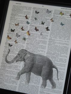 Elephant Art A HHP Original Design Ellie the Elephant with her Butterflies Print on a Vintage Dictionary Book Page 8 x 10. $8.00, via Etsy.