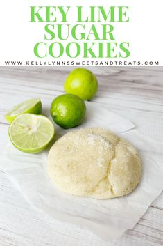 Key Lime Sugar Cookies - Key Lime flavored sugar cookies with the addition of Key Lime zest, Key Lime juice and lime extract and then baked into a soft sugar cookie. Kelly Lynn's Sweets and Treats Cake Mix Cookie Recipes, Best Cookie Recipes, Cookie Desserts, Baking Recipes, Dessert Recipes, Cookie Favors, Key Lime Desserts, Baking Ideas, Soft Sugar Cookies