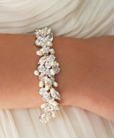 nice Wedding Jewelry Rhinestone, Freshwater Pearl and Swarovski Crystal Bridal Bracelet by post_link
