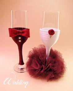 Wedding Champagne Glasses/ Handmade Wedding by HANDMADEONLYFORYOU, €38.24