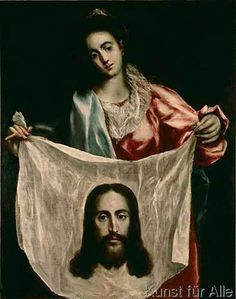 size: Giclee Print: St, Veronica with the Shroud of Christ, C. by El Greco : Veil Of Veronica, St Veronica, Religious Icons, Religious Art, Renaissance, Images Of Christ, Jesus Face, Spanish Painters, Plastic Art