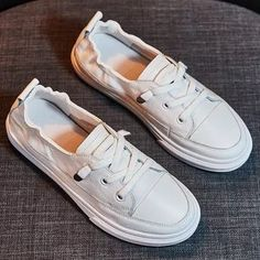 Women White Flats Pu Soft Leather Sneakers Canvas Loafers comfortable Lace Up Casual Spring Woman Vulcanized Shoes Flat Fashion Leather And Lace, Pu Leather, Estilo Folk, White Flat Shoes, New 52, Loafers For Women, Shoes Women, Sneakers Women