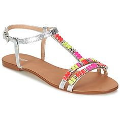 These Dune sandals are really fun with the silver upper and neon bead detail! #shoes #sandals #strappy #neon #silver #dune #ss15
