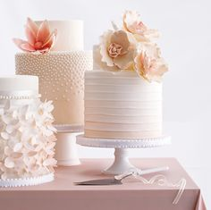 Trio of blush wedding cakes beautifully designed Beautiful Wedding Cakes, Gorgeous Cakes, Pretty Cakes, Amazing Cakes, Fondant Cakes, Cupcake Cakes, Shoe Cakes, Pink Wedding Theme, Floral Wedding