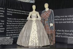 """""""Claire's wedding dress is made of silvered jute linen, with very fine cartridge pleating. The stomacher and petticoat is a silk/linen weave, covered in 450 hand embroidered silver plate acorns and leaves, and one silver dog bone. Layered behind the petticoat and stomacher, is another layer of silk cover in hand slivered mica shards, to create an organic shimmer effect."""" - Costume Designer Terry Dresbach"""