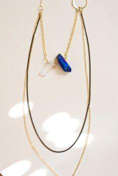 Raw Crystal Rainbow Quartz Necklace Layered by inhersummerdress, $26.00