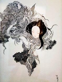 Kai Fine Art is an art website, shows painting and illustration works all over the world. Japanese Art Modern, Japanese Artwork, Japanese Artists, Art And Illustration, Pretty Art, Artist Art, Asian Art, Dark Art, Art Inspo