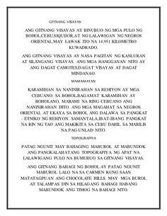 GITNANG VISAYAS  ANG GITNANG VISAYAS AY BINUBUO NG MGA PULO NG  BOHOL,CEBU,SIQUIJOR,AT NG LALAWIGAN NG… Mindanao, Bohol, Cebu, English, Personalized Items, English Language, Cebu City, Men's Fitness Tips