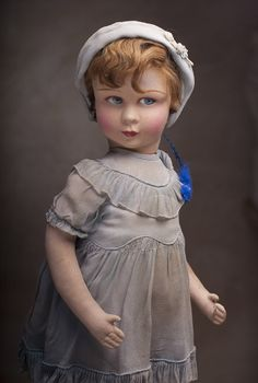 "20"" (51 cm) Antique French Felt Doll by Raynal Lenci type in Original Costume c.1920"