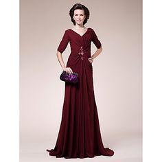 Sheath/ Column V-neck Sweep/ Brush Train Chiffon Mother of the Bride Dress – US$ 149.99