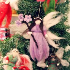 121205 Josephine's lavendar pulled magic wool guardian angel fairy with bouquot of lavendar flowers on Christmas tree