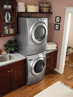 """Explore our internet site for even more relevant information on """"laundry room stackable washer and dryer"""". It is an excellent place to read more. Small Laundry, Laundry In Bathroom, Laundry Rooms, Laundry Closet, Washroom, Laundry Room Organization, Laundry Room Design, Small Space Kitchen, Small Spaces"""