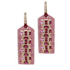 Ruby and Pink Sapphire Bella Earrings by Robert Procop