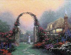 Thomas Kinkade - The Rose Arbor Cottage