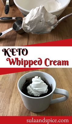 Low carb whipped cream is not only possible, it is absolutely delicious! Only 3 ingredients and 5 minutes needed to produce this keto whipped cream! Use it to top all your favorite keto desserts! #ketowhippedcream #easywhippedcream #howtomakewhippedcream #easywhippedcream #homemadewhippedcream