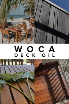 WOCA Deck Oil colors wood, provides UV protection, and a water-resistant, breathable finish. Exterior Stairs, Exterior Doors, Outdoor Projects, Wood Projects, Outdoor Decor, Rough Wood, Exposed Wood, Deck Furniture, Wood Surface
