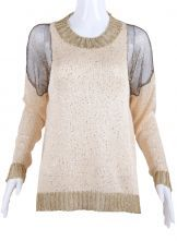 Beige Shoulder Hollow Metallic Yoke Sequined Sweater $30.32