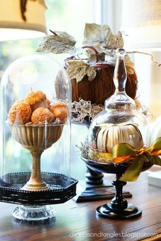 An overturned wine glass makes a charming cloche to place over a tiny Halloween or Thanksgiving vignette. Thanksgiving Tablescapes, Thanksgiving Decorations, Seasonal Decor, Halloween Decorations, Thanksgiving Blessings, Thanksgiving Ideas, Holiday Ideas, Decoration Inspiration, Autumn Inspiration