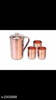 Bottles & Jugs   Jug & Glass (Pack Of 4) Material: Pure Copper Capacity:  Jug  - 1.5 ml, Glass - 250 ml. Description:  It Has 1 Piece Of Jug & 3 Pieces Of Glass  Free Mask    Pattern : Metallic Finish Sizes Available: Free Size *Proof of Safe Delivery! Click to know on Safety Standards of Delivery Partners- https://ltl.sh/y_nZrAV3  Catalog Rating: ★4 (489)  Catalog Name: Free Mask Elite Useful Pure Copper Bottle & Jugs, glasses Vol 2 CatalogID_307048 C130-SC1124 Code: 1601-2302688-