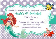 Little Mermaid party invitations Ariel Birthday Party