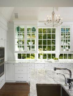 white kitchen, green view