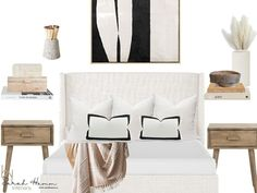 Designer pillows from Arianna Belle - three Luxe Cloud Pearl and two Solid With with Grosgrain Ribbon Border in Black     Interior design by @interior_bysarah White Bedroom Design, Black Interior Design, Bedroom Design Inspiration, End Tables With Storage, Designer Pillow, Relax, Layout, Contemporary, Black And White