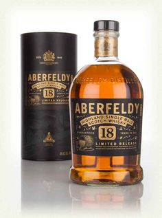 Aberfeldy 18 Year Old 1l, Aberfeldy's 18 Year Old single malt Scotch whisky was originally launched for the Travel Retail Market. Presented in a bottle designed to fit in with the rest of the Aberfeldy redesign, this stylish single malt is a creamy, easy-going treat for the palate. Brimming with familiar notes of vanilla, buttermilk pancakes and stewed fruits, as well as warming oak notes from the fairly long maturation.