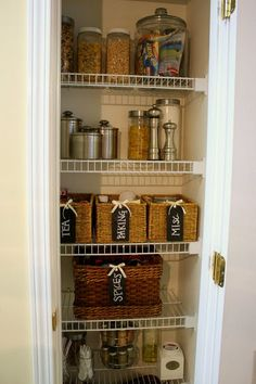 Great small pantry redo at Burlap and Lace - Kitchen Pantry Pantry Closet, Pantry Storage, Pantry Organization, Kitchen Pantry, Kitchen Storage, Pantry Ideas, Organized Pantry, Kitchen Ideas, Organizing Ideas