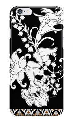 Palace Garden Phone Cases by PolkaDotStudio on RedBubble, #new #black #white #deco #nouvea #graphic #garden #floral #flowers #border #art on #tech #fashion #accessories for #phones #iPhone #iPhone6 #Samsung #cases #tough for #her #school #home #office #gift