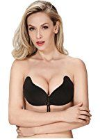 b2c3ea9a5a CANCA Women s Strapless Bra Self Adhesive Wing Shape Silicone Push Up with  Drawstring Selfies