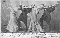 The Cakewalk was a dance that was performed by slaves at get togethers on plantations. There are many theories as to its origin, one being that slaves borrowed the dance from the Seminole Indian tribe. The dance caught on in society in the late 1800's and at the end the couple who performed it best was awarded a cake. First performed only by men, it became the fashion to have women participate in the 1890's at which time the dance reached epic and ridiculous proportions.