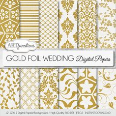 "Gold foil papers ""GOLD FOIL WEDDING"" gold foil wedding patterns, gold flourish, gold damask, gold floral designs, perfect for invitations"