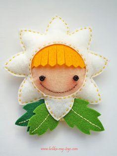 Carita de muñeca en flor de fieltro