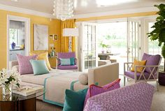 The pool house from the 2011 Hampton Designer Showhouse done by Eileen Kathryn Boyd rocked my universe. Bold combinations of lavender, turq & sunflower gold was pure genius. Updated Palm Beach Chic for sure!